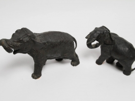 DEUX ELEPHANTS  EN BRONZE  FIN XIXIE DONT UN ACCIDENTE)