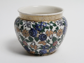 CACHE POT FAIENCE DE  VIENNE A DECOR IZNIQUE