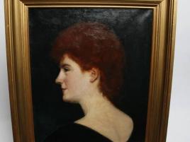H.S.T ENCADREE PORTRAIT DE FEMME  (  46 X 38 CM )