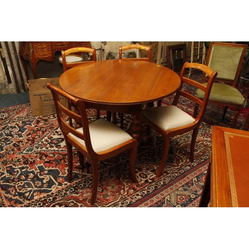 Table ronde a bords a abattants en bois naturel et 4 - Table ronde bois clair ...